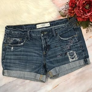 Abercrombie & Fitch Embroidered Jean Shorts.